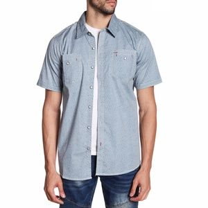 XRAY Men's Heart Print Short Sleeve Slim Fit Shirt